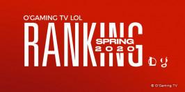 Saison 2020, le ranking O'Gaming